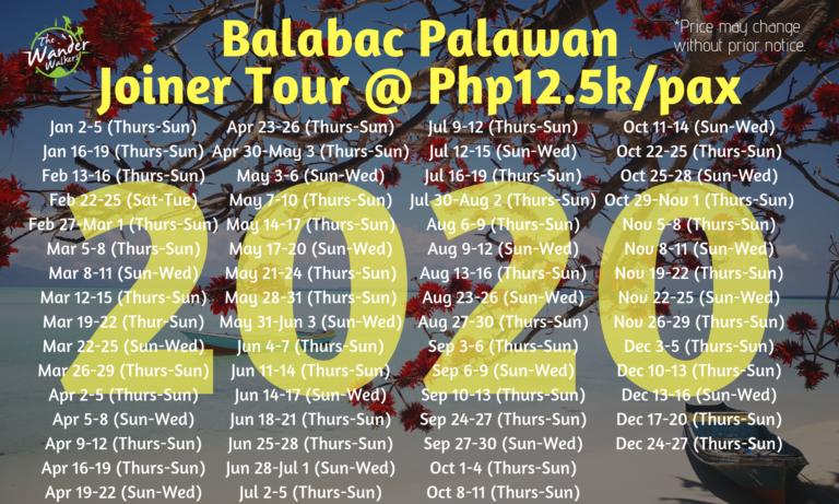 Balabac Group Tour Schedule