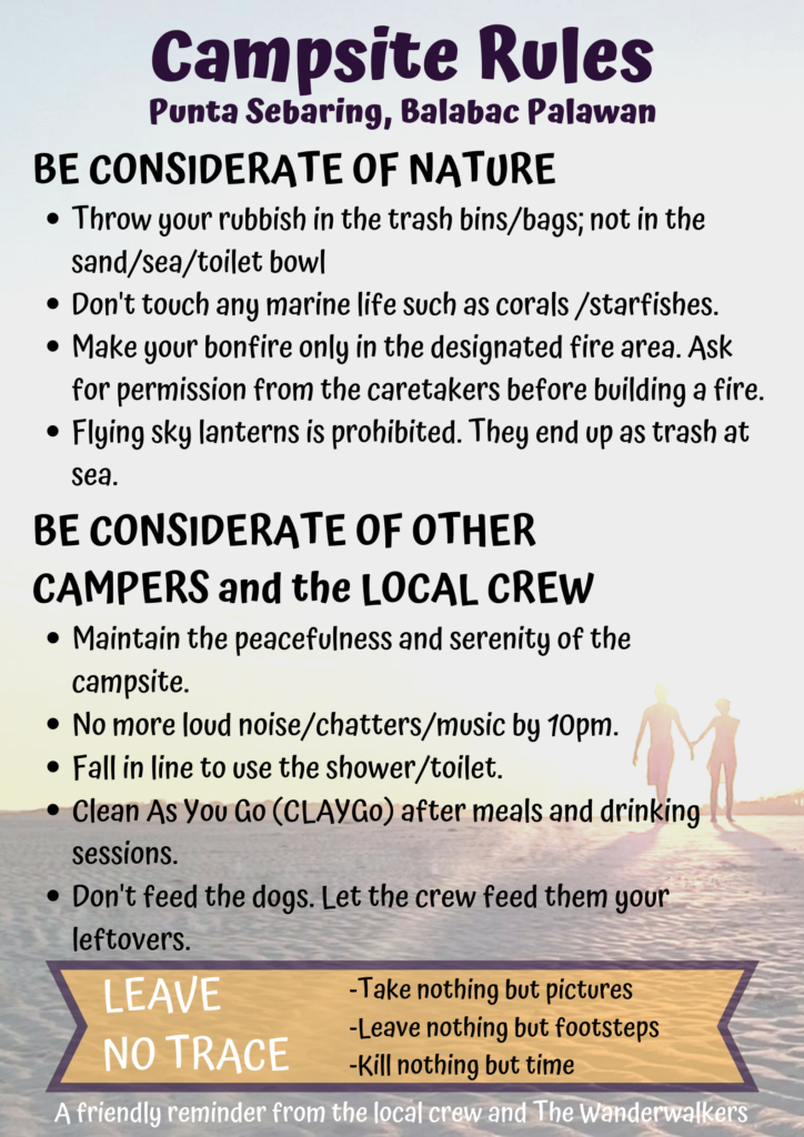 Campsite Rules in Punta Sebaring - Balabac Tours by The Wanderwalkers